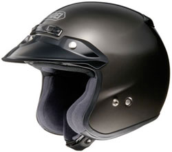 Combining goggles and a shield with an open face helmet like this Shoei RJ Platinum design is one option for springtime's warm weather riding. (Image courtesy of Shoei Helmets)