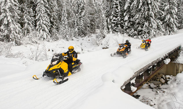 Ski-Doo Group on Snowmobile Trail
