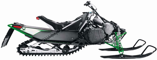This is the 2012 Sno Pro 500. It uses the same chassis that led to the current ProCross/ProClimb chassis. Compare the basic front suspension layout on this sled to the new sled.