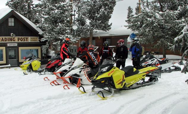Snowmobilers Wearing Helmets