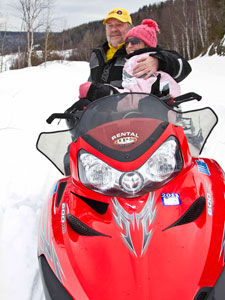 Get away from it all with by renting a snowmobile