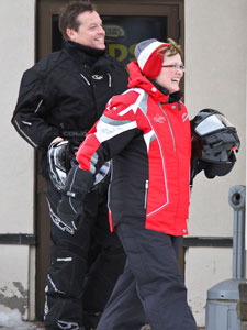 Snowmobiling is perfect for couples