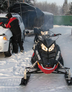 Unloading Snowmobile Trailer