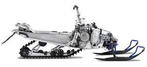 Stripped down Deltabox II chassis shows off rider-forward position and centered engine package.