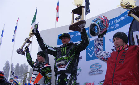 Arctic Cat swept the podium at the FIM Snowcross World Championship in Sweden.