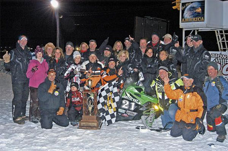 Cadarette Racing celebrates its milestone win.
