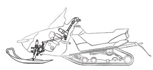 If EPS appears on future Yamaha snowmobiles, it may fit into the sled like this. Note that the EPS motor at the bottom of the steering shaft sits centered in the sled's centralized mass area.