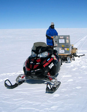 Ethan Brodsky of the University of Wisconsin-Madison with the Bucky EV at an NSF arctic research station in Greenland.